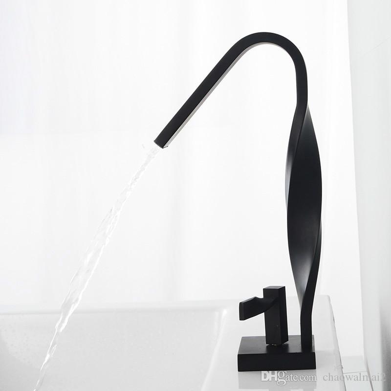 Tube tordu Design de mode Robinet de bassin noir Robinet mélangeur monotrou Salle de bains Robinet Laiton Chrome Blanc Chaud Mélangeur Robinet