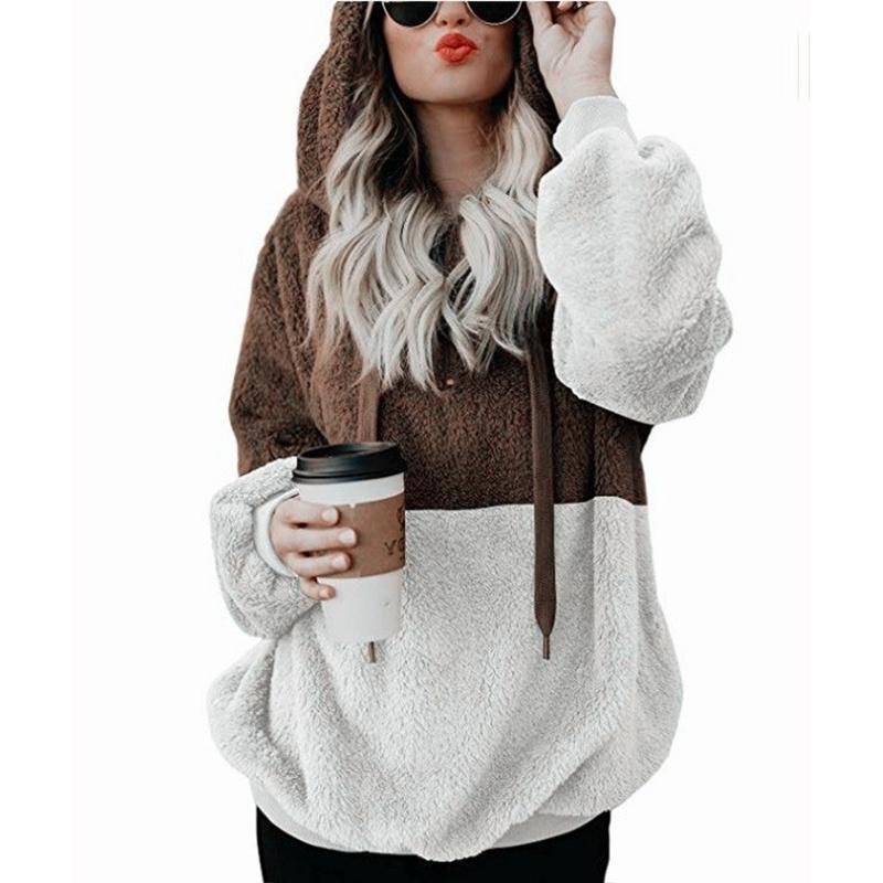 Женщины Крупногабаритной Толстовки Толстовка пальто зима осень заплатка пуловеры волосатого с длинным рукавом с капюшоном Женской одеждой Velvet куртка