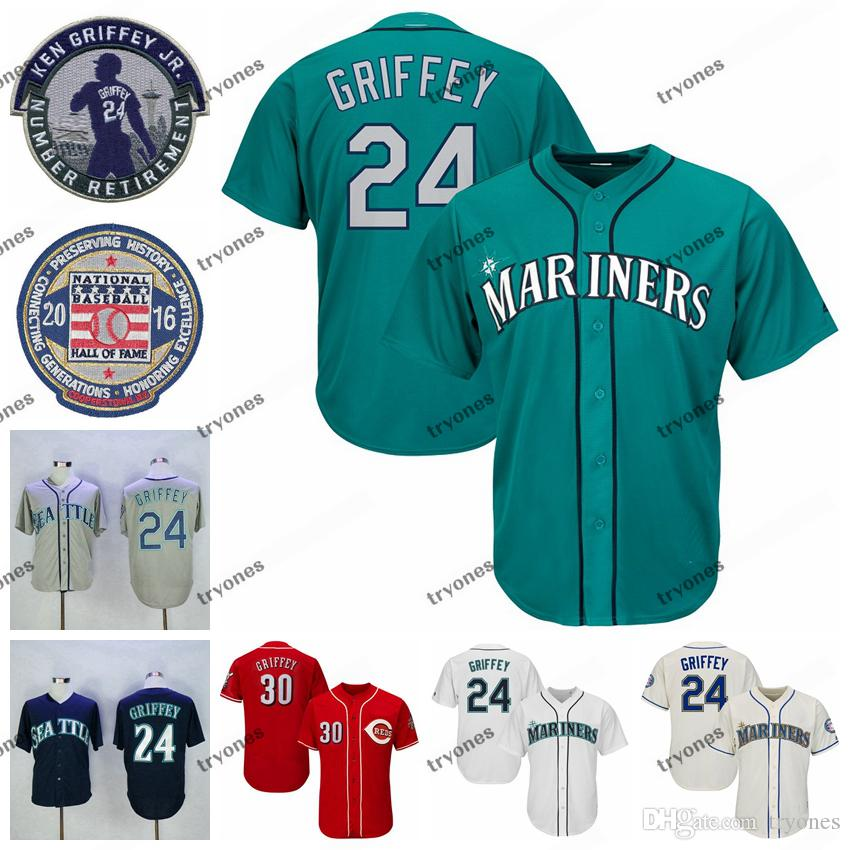 Mens Vintage 2016 Hall da Fama 24 Ken Griffey Jr. Teal Baseball Jersey 30 Ken Griffey Jr. camisas vermelhas aposentado Remendo