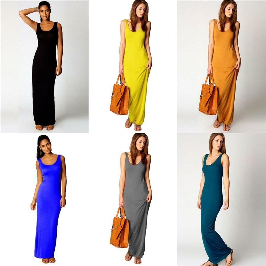 Женщины Платья лето 2020 полиэстера Contrast Цвет Холтер Элегантный Повседневного Chinffon платье без рукавов с рукавами Плюс размер Summer Dres # 576