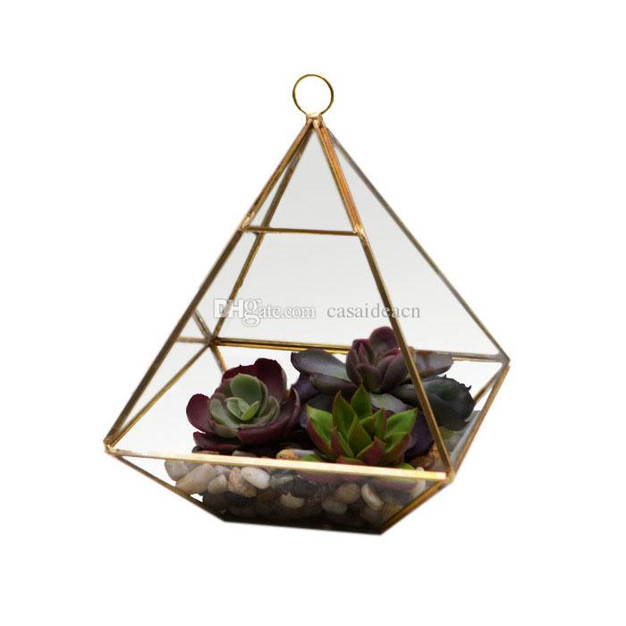 Fat Pyramid Hanging Terrarium Geometric Succulent Planter Micro Landscape Greenhouse for Fern Moss Glass Display Vase Black Gold