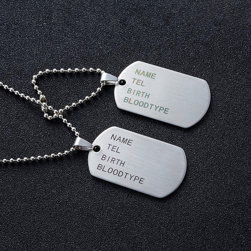 Военные армии из нержавеющей стали Тактический Гравировка Имя ID Теги карты Подвеска Человек NecklacePendants Мода брелок Мужчины ювелирные изделия