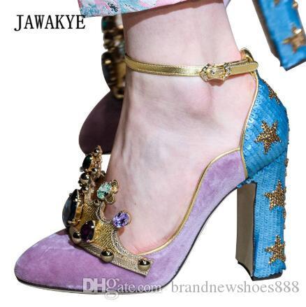 2019 Runway Hand-made Jewels High Heels Woman Round Toe Diamond Crown Decor Star Sequins Pumps Women Luxury Wedding Shoes