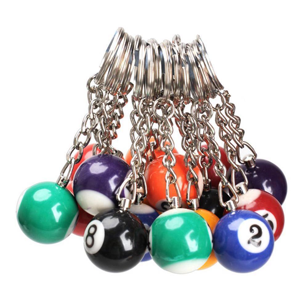 16pcs / lot de billar Llavero de la pelota llavero redondo anillo colgante llavero de coches encanto de la joyería de moda Llaveros Accesorios color mixto