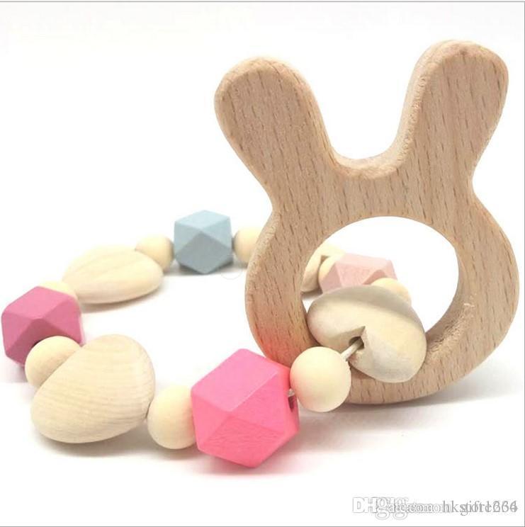 Bravo H Ins stile dell'Europa bambino neonato di legno del braccialetto di dentizione Massaggiagengive di cura di legno naturale Perline Newborn Teether Giocattoli