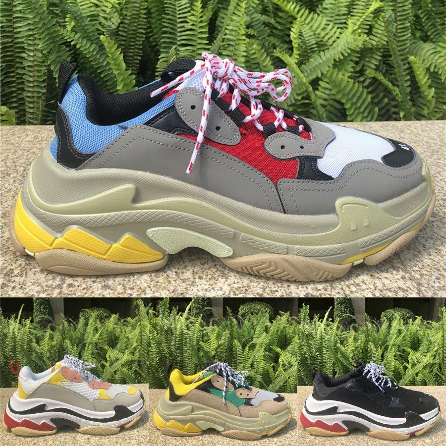 Paris Triple-S White Black Crystal inferior aumentando sapatos sneakers vovô Old Platform Homens Mulheres Vintage Chaussures Esportes
