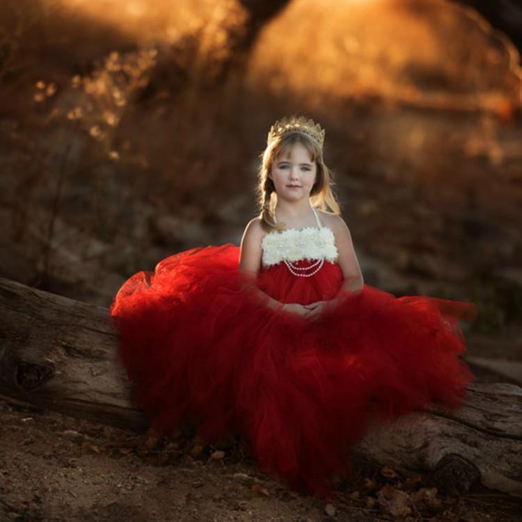 İnciler Çocuk Doğum Günü Partisi Ziyafet Kostüm Elbise ile Kız Kırmızı Vintage Çiçek Tutu Elbise Çocuk Tül Elbise Uzun Balo