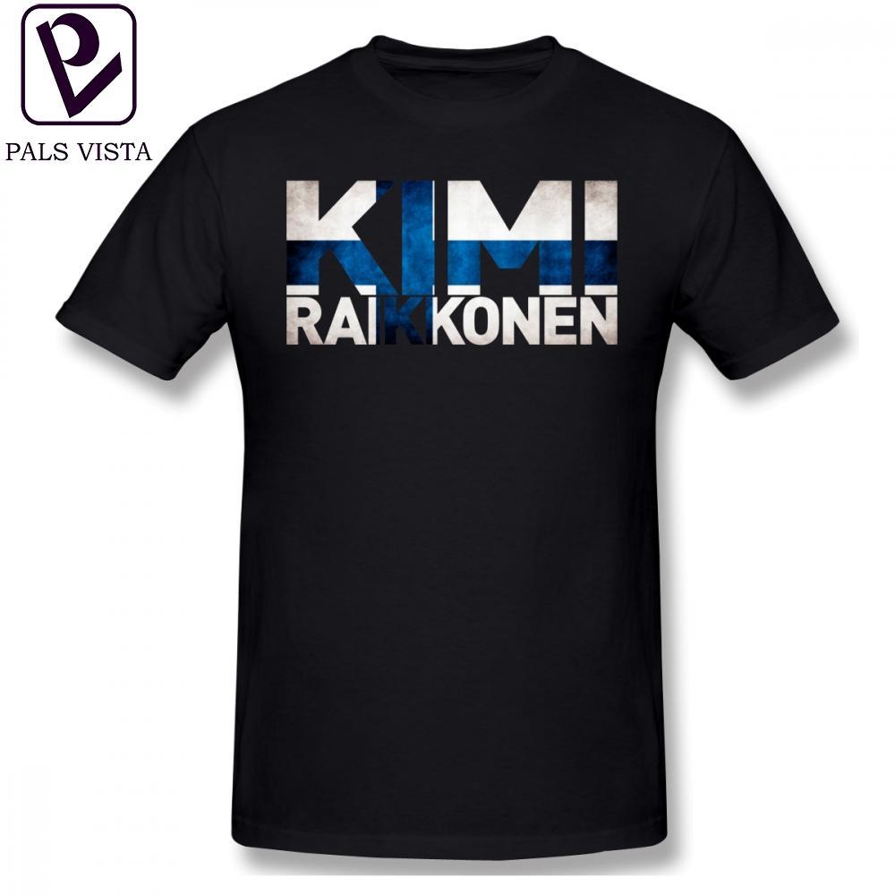 Kimi Raikkonen T Gömlek Kimi Raikkonen Finlandiya Bayrağı T-Shirt Yüzde 100 Pamuk Boy Tee Gömlek Klasik Kısa Kollu Tişört