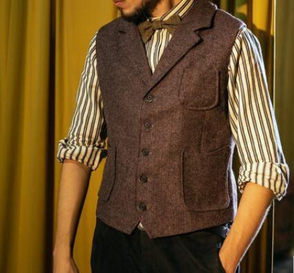 2020 Casual Bristish Groom Gilets Peaked Lapel brun foncé Laine Herringbone Tweed Hommes Costume garçons d'honneur Attire robe de bal de mariage 12 Waistcoat