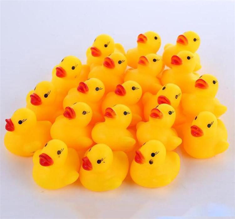 الرضع الولايات المتحدة سوق الأسهم شحن مجاني! لعبة اطفال حمام الصوت راتل الأطفال البسيطة المطاط بطة الاستحمام سباحة سباق صار بركة متعة اللعب لعبة