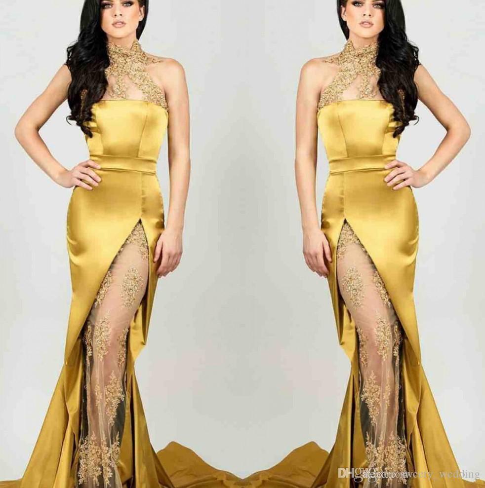 Gold Sheer Вечерние платья из атласных русалок с высоким вырезом и аппликацией 2019 с кружевными аппликациями вечернее платье
