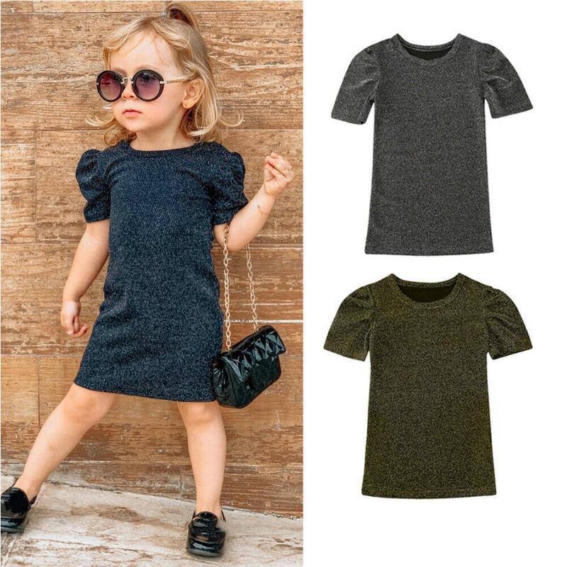 Festa Moda Sólidos Bling verão 1-6Y Criança crianças bebê Girls Dress Ruffles manga retas Vestidos Set