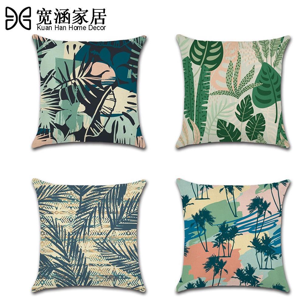 Yeşil Yaprak Çiçek Baskı Atma Yastık Kapak 45 * 45cm Yastık Kapak Tropikal Bitki Yastık kılıfı Araba Ana Dekorasyon Dekoratif yastık kılıfı atın
