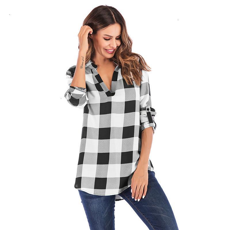 Plus Size Top Blouses pour femmes Chemises Grand carreaux Chemisier Bouton Femme Vêtements Hauts à manches longues 3TG 5XL Tunique Femme