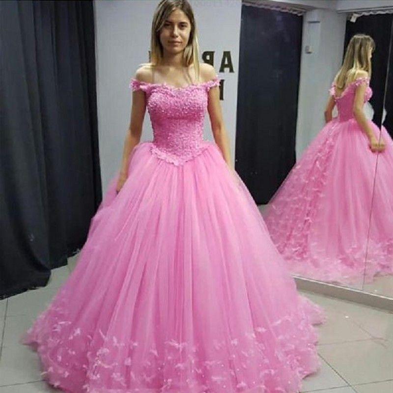 2019 Off the Shoulder Pink 3D Flowers Princess Wedding Dresses Bride Ball Gowns