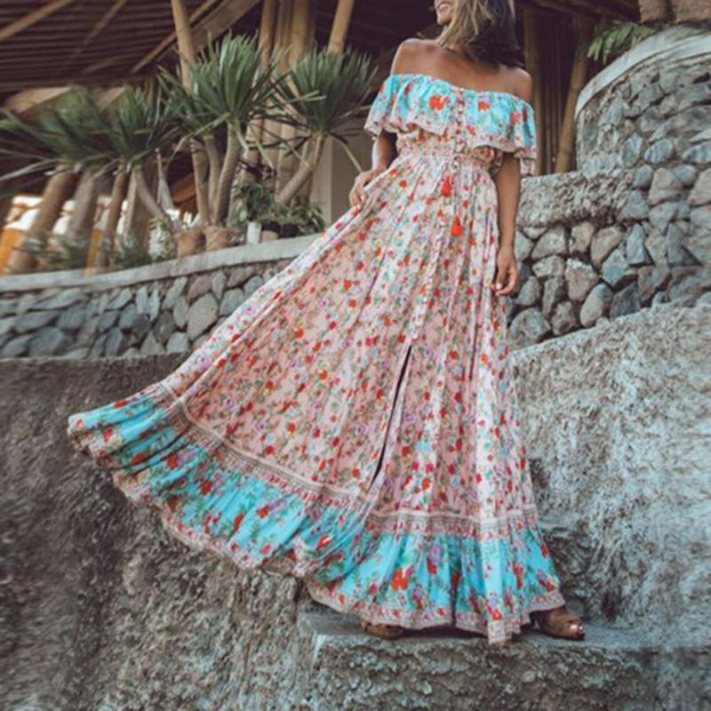 2020 vestido bohemio verano de las mujeres del hombro Boho vestidos largos de la colmena de la vendimia atado de cintura alta de verano vestido floral # T30