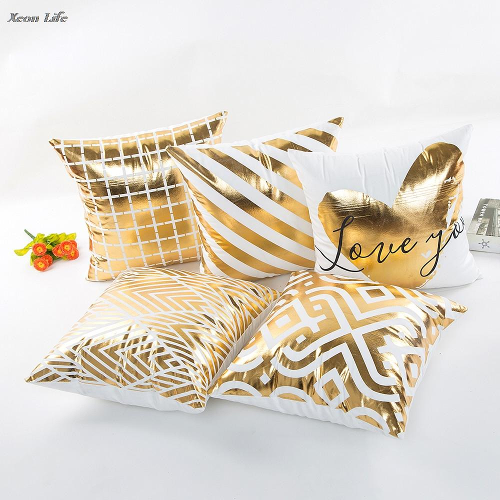 ISHOWTIENDA New Design 2017 Gold Foil Printing Pillow Case Waist Throw Pillow Cover Bright Colorful Square Throw Pillowcase