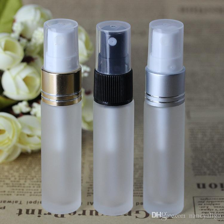 Frosted Clear 10ml Glass Mini Perfume Bottles Gold Silver Black Lids Fine Mist Spray Bottle 1/3OZ for Fragrance Essential Oil Water