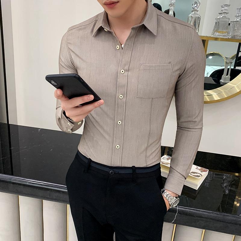 Marka Erkek Gömlekler Uzun Kollu Casual Slim Fit Biçimsel Sosyal Gömlek Erkek İş Düğün Smokin Erkek Giyim Camisa