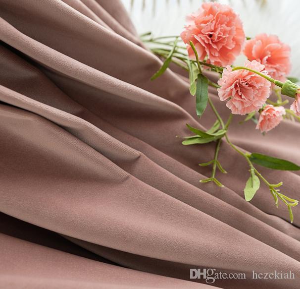 Nordischen Stil Samtvorhang Fleisch rosa graues Pulver schmutzig Pulver Samt amerikanischen Licht Luxuxschlafzimmers Flanell Vorhang benutzerdefinierte