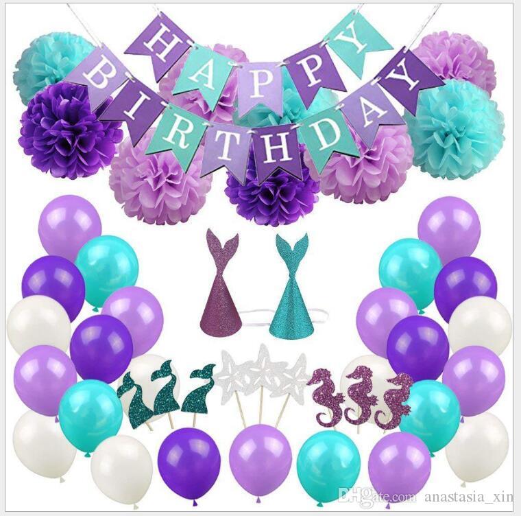 The Little Mermaid Party Supplies Theme Mermaid Decor Mermaid Birthday Balloon For Kids Favor Happy Birthday Wedding Party Decor