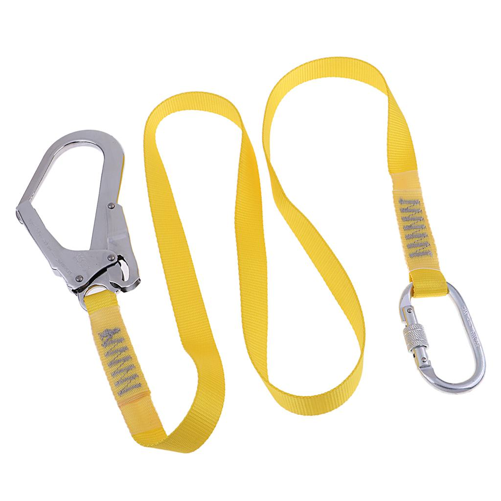 Outdoor Rock Climbing Lanyard Hardness Fall Protection Rope With Snap Hooks