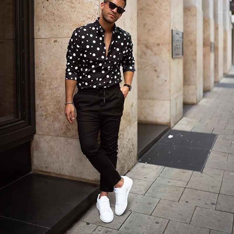 Erkek Elbise Gömlek KLV 2021 Erkekler Gömlek Streetwear erkek Moda Gevşek Rahat Uzun Kollu Polka Dot Baskılı Top Bluz D41