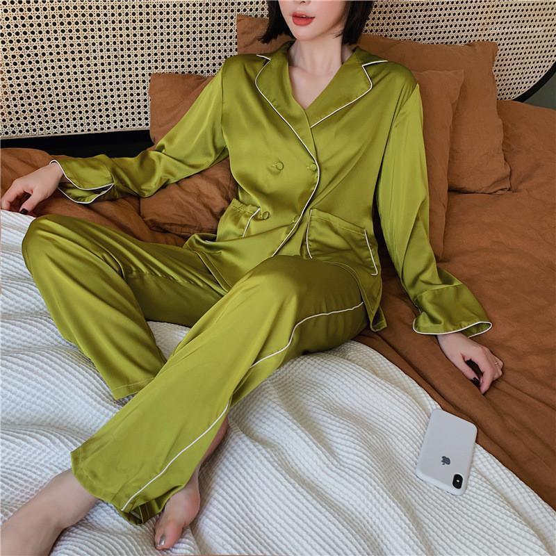 Parça Pantolon Rahat Ev pijamalar Lüks Bayan Pijama Setleri Moda Katı Renk Çift Breasted İki Womens