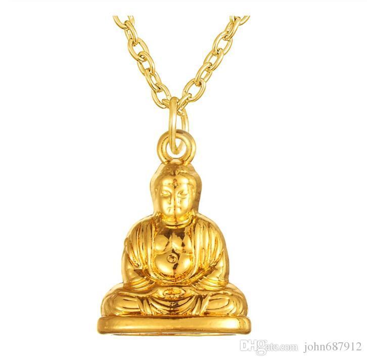 DN028 Huilin Takı 2019 yeni tasarım Buda Altın renkli Muska Kolye Kolye Moda Budist Takı ve Aksesuarları