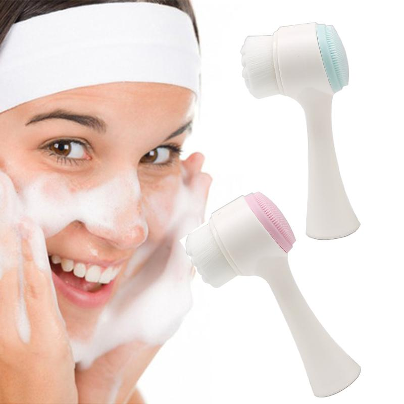 Double Sides Multifunctional Silicone Facial Cleansing Brush Portable Size 3D Face Cleaning Massage Tool Facial Brush