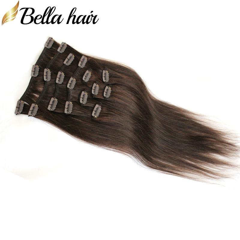 Bellahair 새로운 온 / 헤어 확장 20 인치 스트레이트 인간의 레미 헤어 되죠 # 2 컬러 100g / 세트에서 유행 브라질 인간의 머리 클립