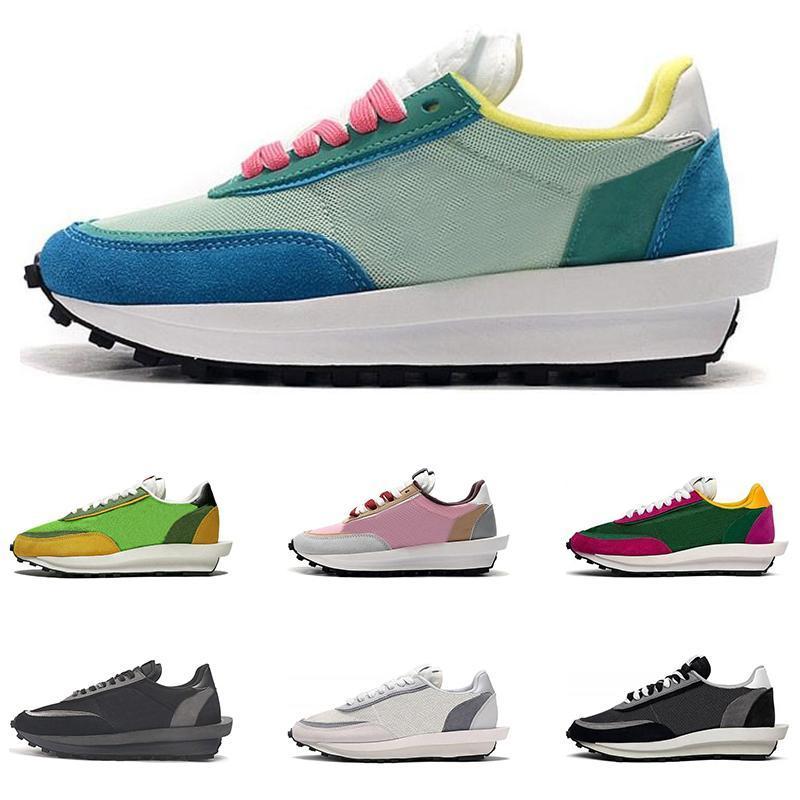 2019 nouveau Sacai LDV gaufre chaussures de course Noir Blanc Gris Rose Vert Gusto Varsity Bleu Hommes Formateurs Mode Sport sneakers Taille 36-45