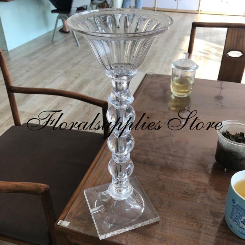 10pcs vase clair gros cylindre acrylique 40cm grande trompette pour articles de fête d'événement pièce maîtresse de table de décoration de mariage