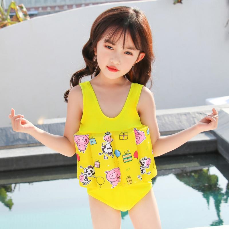 노란색 어린이 수영복 아기 소녀 플로트 부력 수영복 분리 수영복 보호 안전 학습 수영복