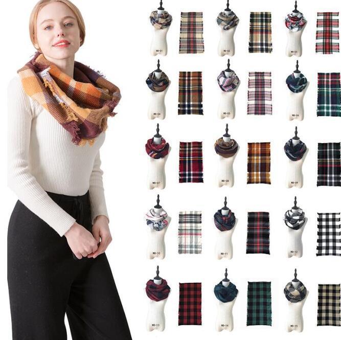 Knitting gestreiftes Kopftuch Plaid Ring Schal 17 Farben Gitter Unendlichkeit Schal-Verpackungs-Loop-Schal-Frauen Neckchief LXL1286B