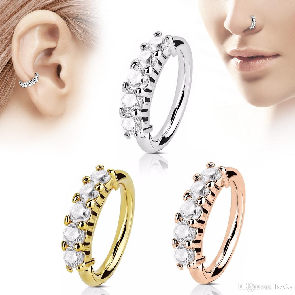 2020 High Quality Row Zircon Nose Rings Rose Gold Silver O