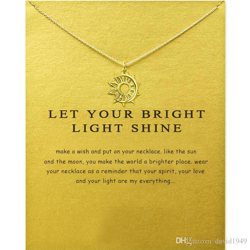 Creux de lune pendentif colliers or argent couleurs souhaitent pendentifs en alliage avec carte-cadeau bijoux de mode
