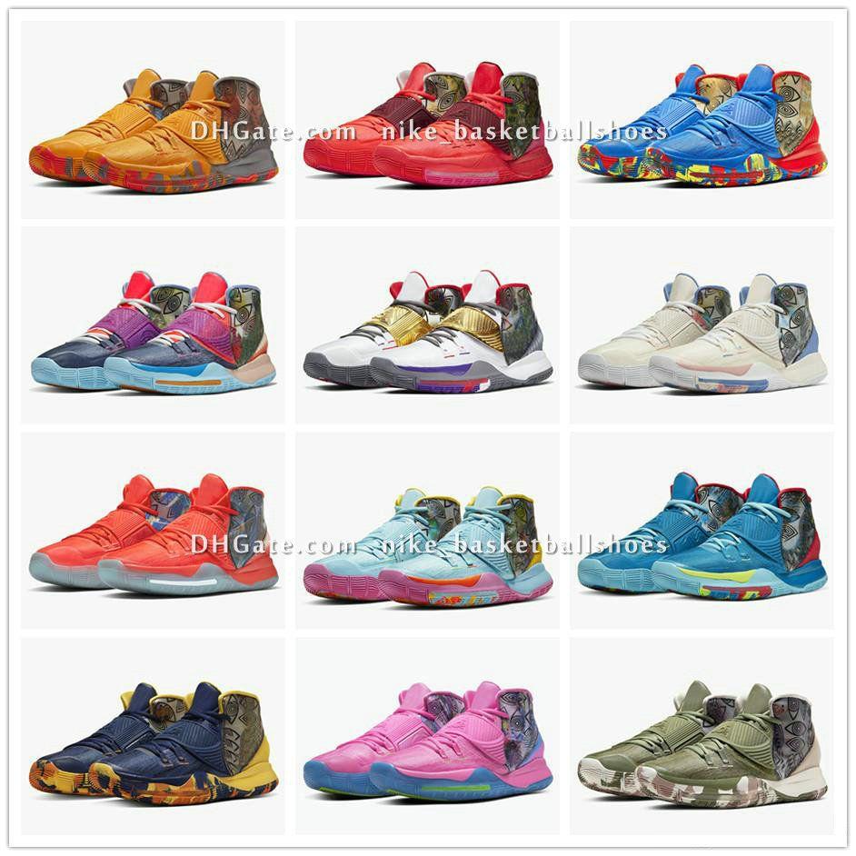 Kyrie 6 Préchauffez NYC Miami Houston LA Shanghai Pékin Guangzhou Taipei Tokyo Manille Berlin Guérissez les chaussures du monde Basketbal CN9839-401-404 BA