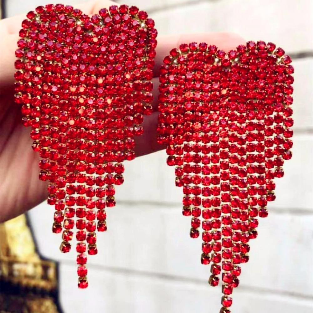 Новое поступление блестящий красный горный хрусталь угол сердца шарм болтаться серьги для женщин мода ювелирные изделия модные коллекции аксессуары