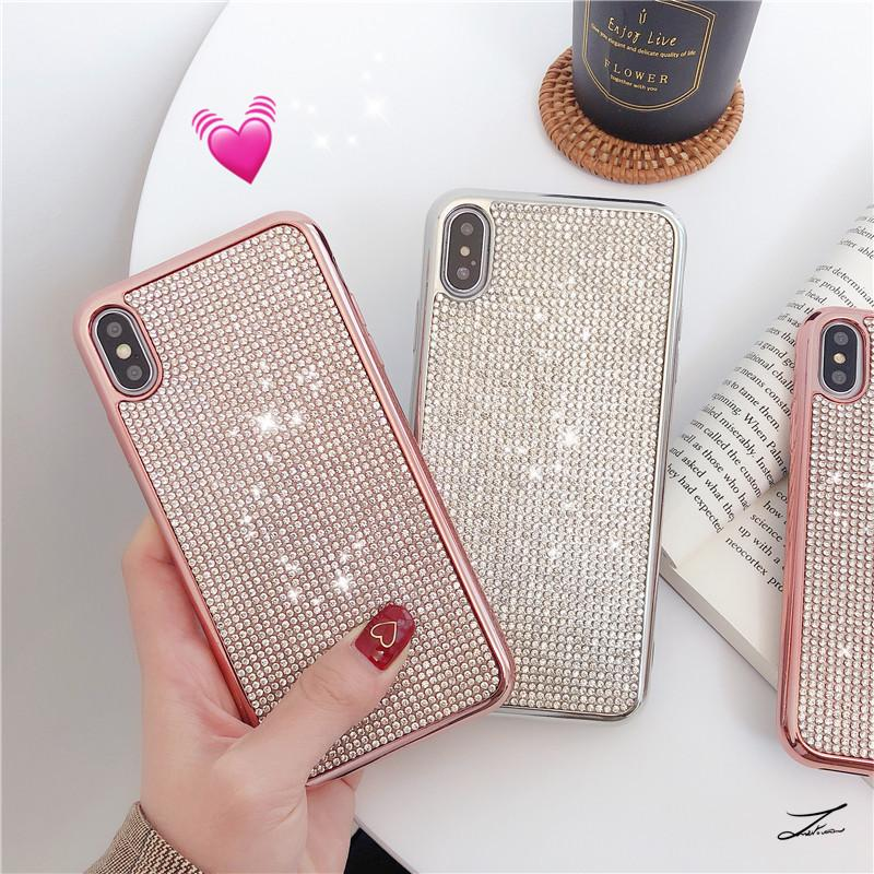 Hot 1pcs Phone Case Fashion Luxury Full Rhinestone Plating Soft Shell For Iphone 6s 7 8 Xr Xs 11 Pro Max Plus Protective Case