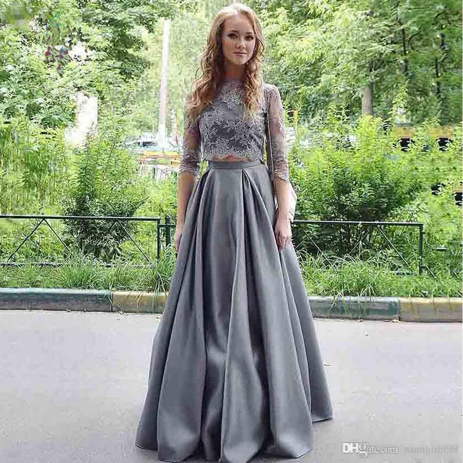 Waishidress Cinza Satin Two Pieces Prom Dress Applique Lace Jewel 3/4 manga comprida vestidos de noite até o chão Simples ocasião especial Vestido
