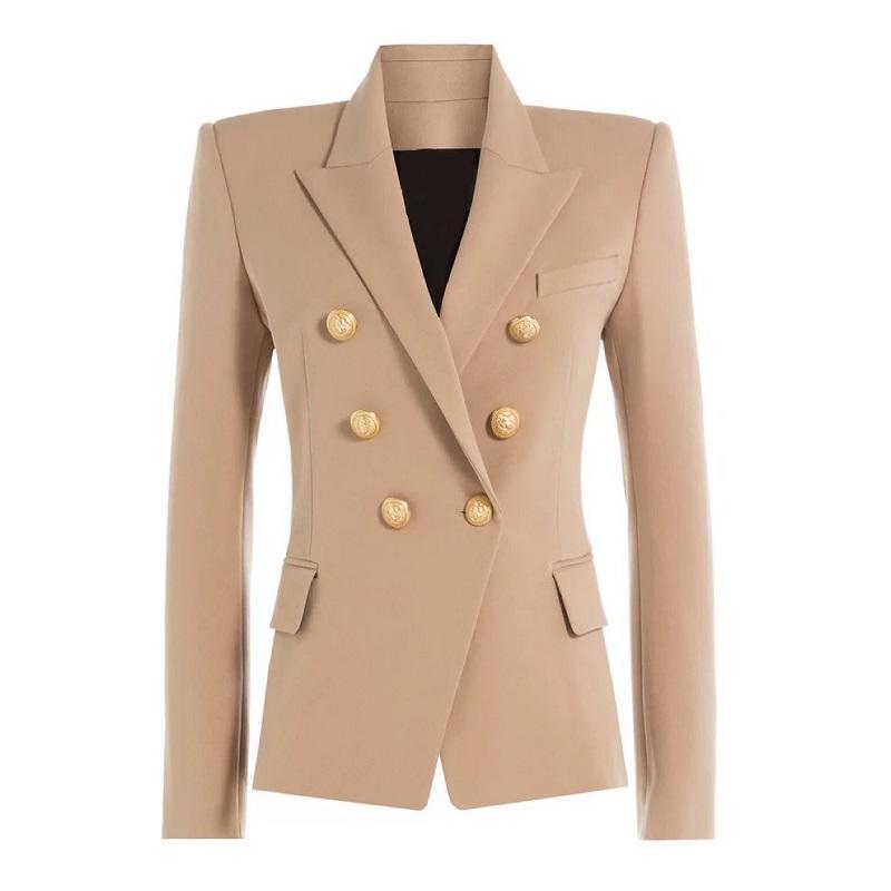 Outono Inverno 2018 Runway Formalmente Blazer Mulheres Gold Lion Botões Brasão Abotoamento senhoras escritório veste Jackets