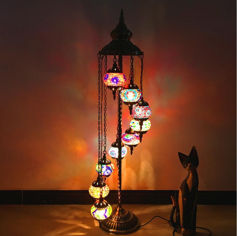 Mediterranean retro living room bedroom romantic exotic ethnic style handmade 9 heads exported to Turkey glass floor lamp