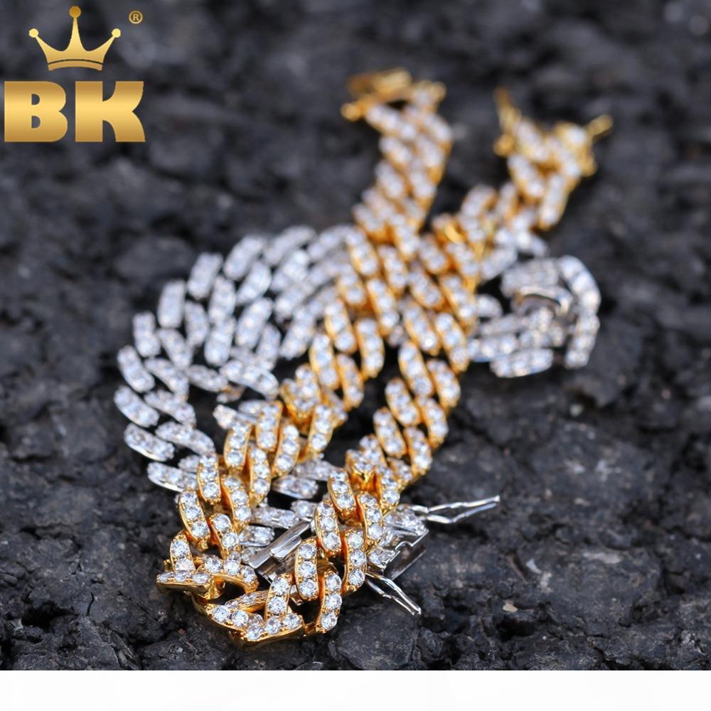DAS BLING KING 9mm Micro Pave Iced CZ Cuban Link Halsketten Ketten-Goldfarben LUXUXBLING Schmuck Mode Hiphop für Männer