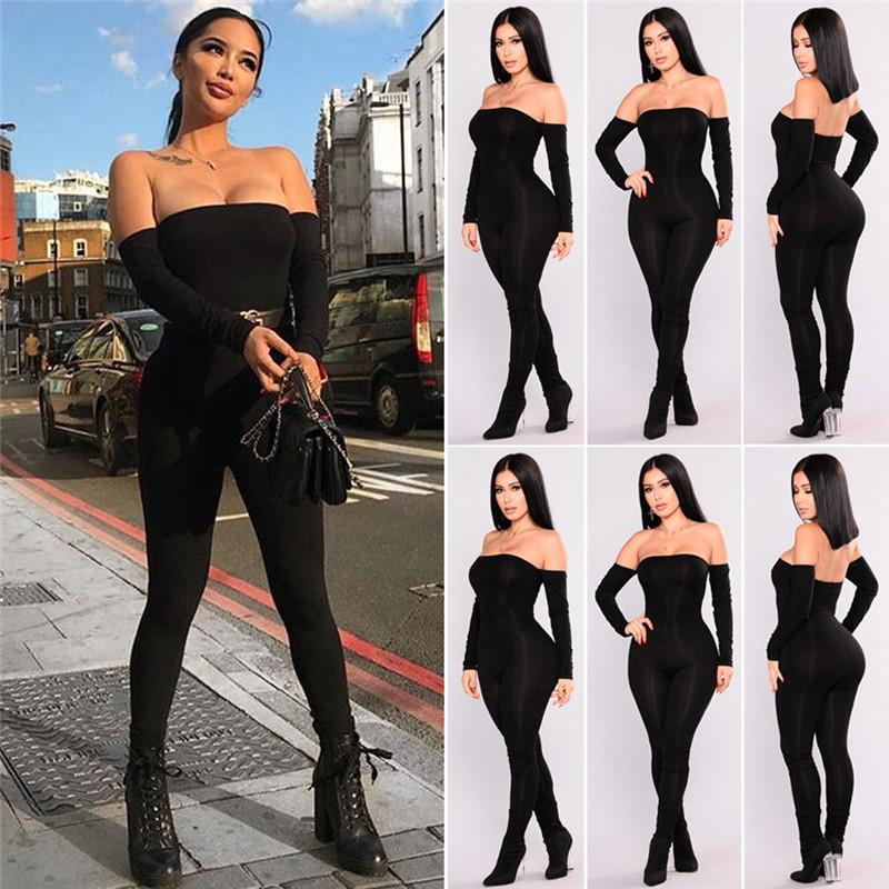 dos nu sexy automne de l'épaule femmes noires à manches longues jumpsuit mince pantalon taille haute barboteuse salopettes occasionnels dames Femme