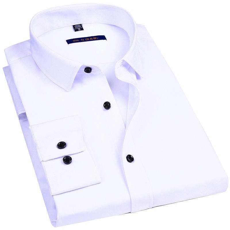 Male Social Formal Shirt Classic Solid Color Design Elasticity Slim Men Dress Casual Long Sleeved Shirt White Black Blue Red