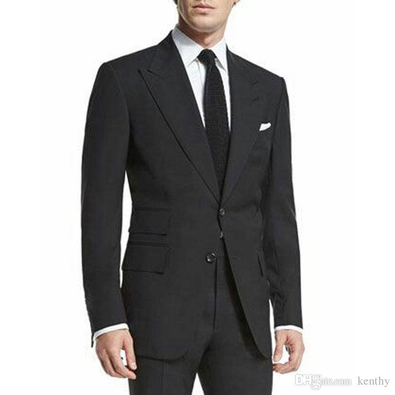 Siyah Adam Blazer Damat Ceket Iş Ceket Pantolon Büyük Doruğa Yaka Kostüm Homme Terno Masculino 2 Adet Adam Takım Elbise Ince Erkek Düğün Takımları