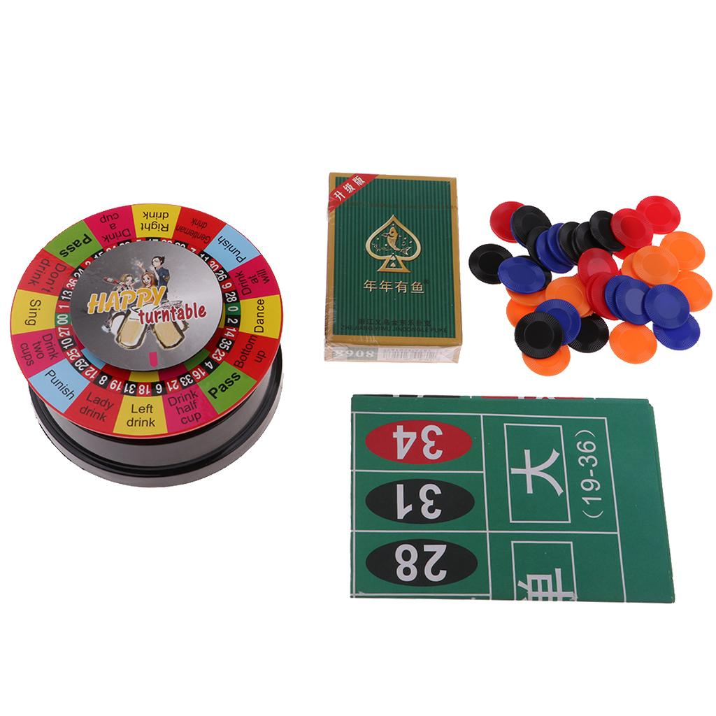3 In 1 Powered Roulette Turntable Set Game Playing Cards Chips Drinking Game Spinning Wheel For Bar KTV Party Fun