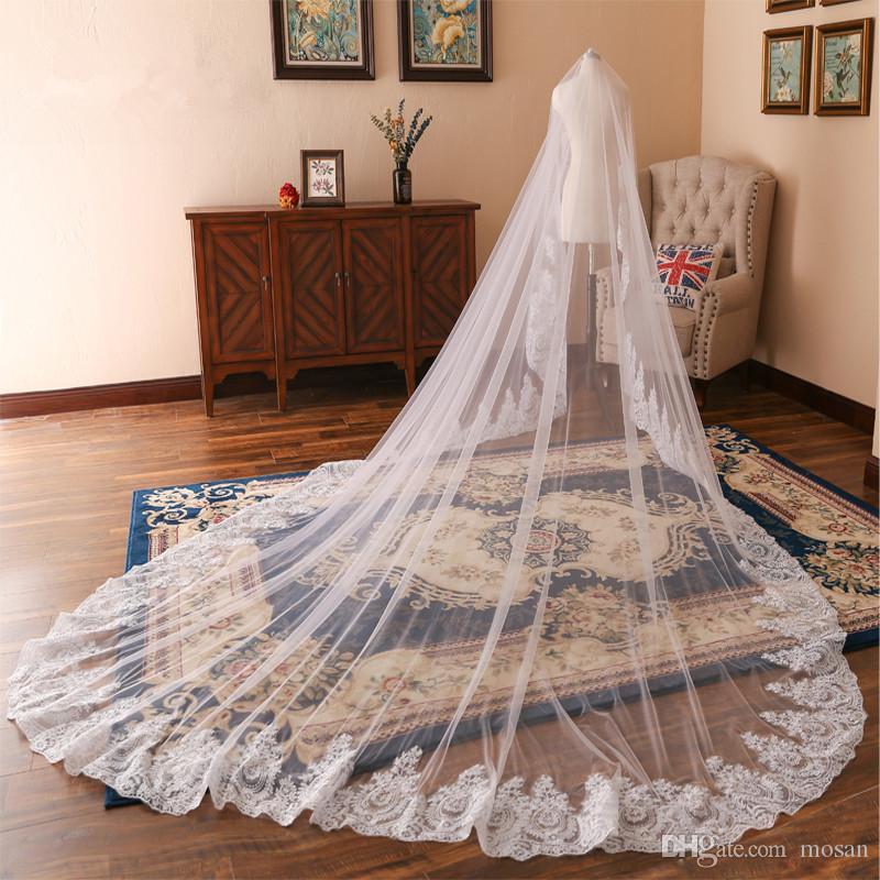 2019 Tulle Tulle White White Ivory Cathedral Veil de mariage pour brides Bord de dentelle Une couche Mariages Accessoires Veil de NOIVA 3 Metros