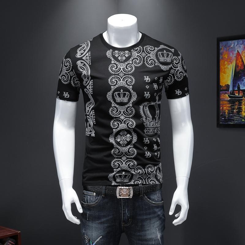 2020 Новая весна и лето высококачественный мерсеризованный хлопок печатная мужская футболка с короткими рукавами персонализированная круглая шея маленькая рубашка прилив
